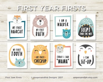 Milestone Flash Cards - First Year Firsts, Photo Prop, Funky Animals, 4.25 x 5.5 cards