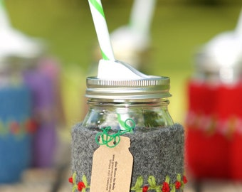 Quart size Felted wool mason jar cozy set dark gray red flowers Quart size