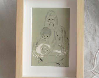 Frame standing - family - the birth - or to hang with vintage imagery