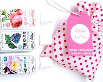 Hand Cream Travel Trio Gift Set - HAPPY HANDS Gift for Knitters - 3 Bottles Assorted Scents Your Choice - Scented Shea Butter Lotion