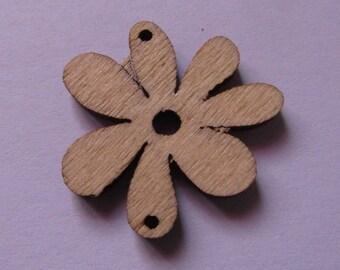connector, set of 10, wooden, flower, 24mmx25mm, natural wood color