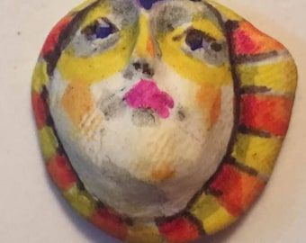 Handmade clay face   mask child spirit woman  dolls doll parts head head  jewelry craft supplies  handmade clown cabochon  face   polymer