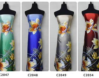 Silk Satin Fabrics,Bella Pattern Flower,For party dress, shirt,long kaftan,silk pajamas,skirt,trousers,by the meter