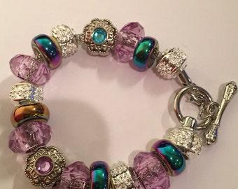 "Purple Sparkles Bead Charm Bracelet 8"""
