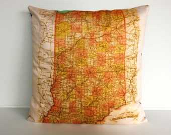 Vintage map print pillow / INDIANA state organic cotton map cushion cover, 16 inch 41 cms pillow 16x16