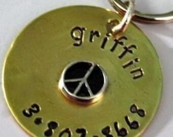 Peace Brass Poochy ID Tag