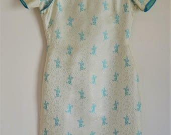 "1950s Cheongsam Qipao White & Turquoise Silk Brocade Dress in XXS Petite Bust 30"""
