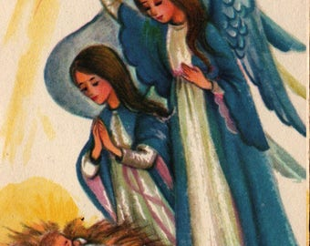 Angels With Baby Jesus + A Christmas Greeting + Vintage Christmas Card
