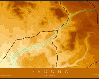 Sedona Map Art   Sedona Topo Map   Arazona Map   Topo Map   Contour Map   National Park Map   Travel Map