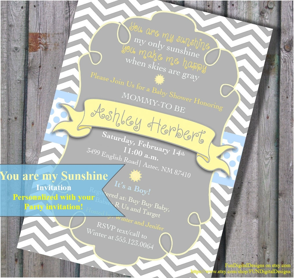 You Are My Sunshine Baby Shower Invitation It\'s a Boy in