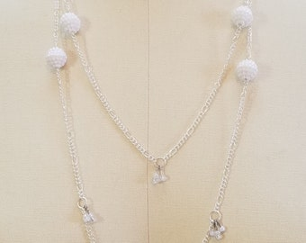 Long White Pearl and Chain Necklace
