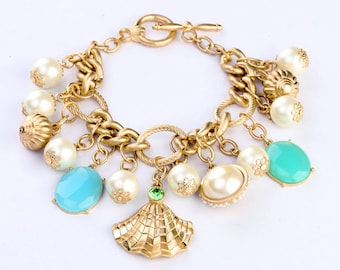 Coastal Pearl, Turquoise, Gold Chunky Charm Statement Bracelet