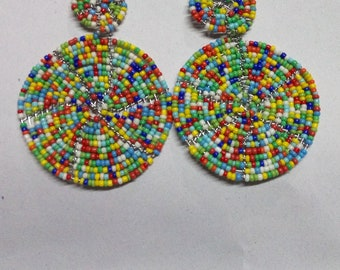 ON SALE African earrings, Rainbow earrings, Boho earrings,  Elegant earrings, Colorful earrings, Gift for her, Drop earrings, Moms gift