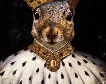 Squirrel Art Print Animal Photography King Squirrels  - Lord Peanut