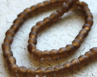African Recycled Glass Beads from Ghana, Light Taupe Brown - ARG-008