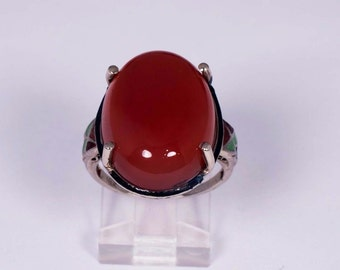 18K White Gold Ring with a Oval Carnelian Cabochon. size 5.25