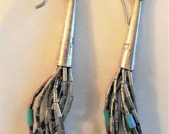 Pair of Vintage 925 Liquid Sterling Silver And Turquoise Bead Dangling 5Earrings