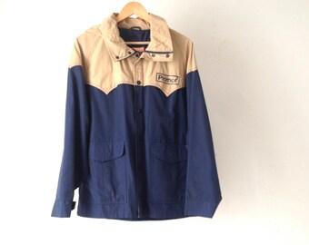 vintage men's RAIN PARKA two tone tan & blue lightweight TOGGLE jacket