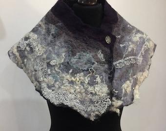 "Handmade felt cowl scarf ""Storm"""