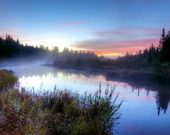 Adirondack Dawn, Long Lake, Adirondack Mountains, Sunrise, Long Lake Sunup, Adirondack Sunrise Photography, Nature Print, Adirondack Decor