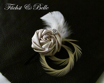 Champagne Bridal Fascinator, Wedding Headpiece - Satin rosette with Ivory goose feathers and rhinestone
