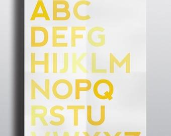 ABC Nursery Print - Yellow - Bedroom - Nursery Wall Art