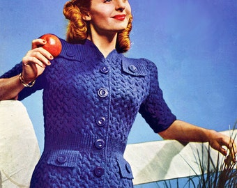 1940s Knitting- Sporty Short Sleeve Button Up Sweater E-Pattern- Size 14 16, Bust 32 34-  PDF Pattern Download