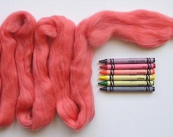 MERINO WOOL ROVING / Begonia Pink 1 oz / wool for wet felting, nuno felting, spinning, weaving, knitting, dreadlocks, infant photography
