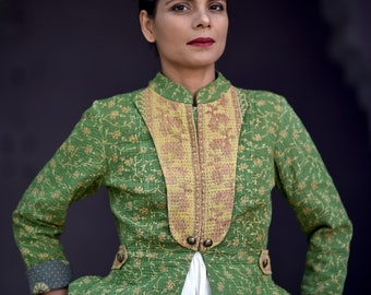 Small ~ Ellen Oleria, Vintage kantha Hand Crafted short Jacket in green with dull yellow collar