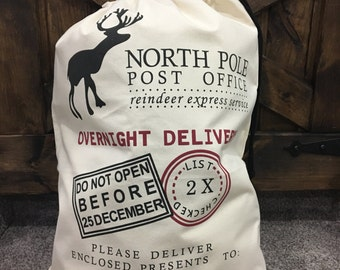 Personalized Santa Sack, Christmas Sack, Santa sack, Christmas stocking, santa clause present bag, Christmas gift bag, canvas christmas sack
