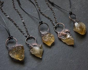 Raw Citrine Pendant Necklace   Gemstone Necklace   Yellow Crystal Necklace   Raw Stone