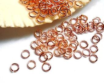 50/100 Rose Gold Plated Jump Rings 3mm, Open Loop - 9-RG-3OL