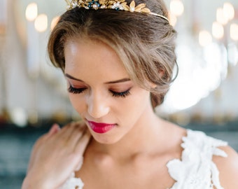 SYCAMORE sapphire gold leaves bohemian bridal tiara, romantic something blue wedding crown