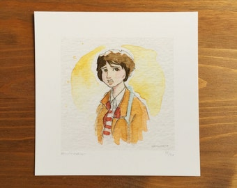 Mike Stranger Things, Watercolor Prints, 5x5 by Kendra Minadeo Limited Edition
