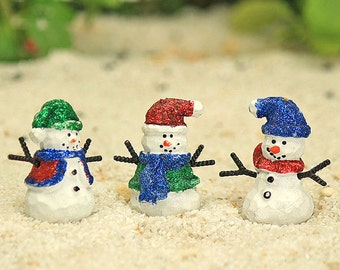 Tiny Glittery Snowman - Set of 3,  Snowman Family, Christmas Decoration, Ornament, Fairy Garden Accessory, Cake Topper