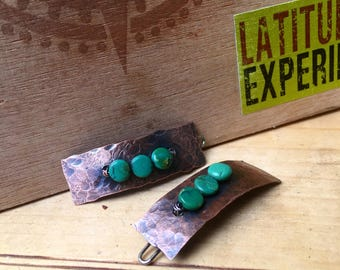 Hammered Copper 1.5 inch Barrette, Hair Clip with Turquoise