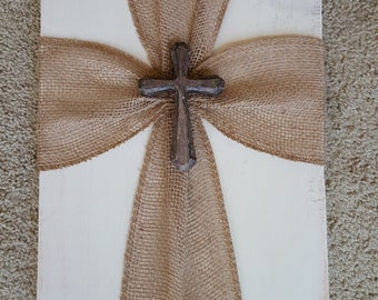 Rustic Burlap Cross Wall Decor, Chalk Painted Old White