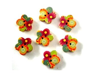 15 Wood buttons, flowers shape, wooden, ornaments, for button jewelry, scrapbooking, crafts