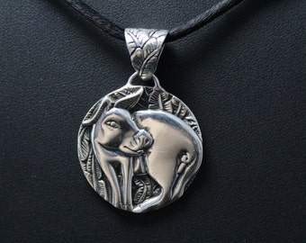Sterling Silver Chinese Zodiac Year of the Pig Pendant