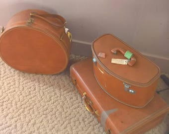 1950s Camel Brown Samsonite Suitcase Luggage