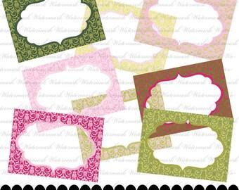 Damask printable labels and Damask Digital Frames, Damask tags, digital clip art scrapbooking, pink, green, yellow : e0124 & 3s02