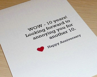 Personalised Anniversary Card - Love handmade greeting card - boyfriend girlfriend husband wife partner - handmade - humour funny card