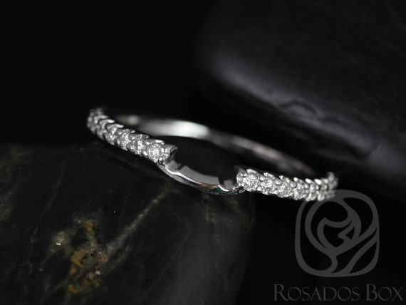 Rosados Box 14kt White Gold Matching Band to Blanche ALMOST Eternity Diamond Band
