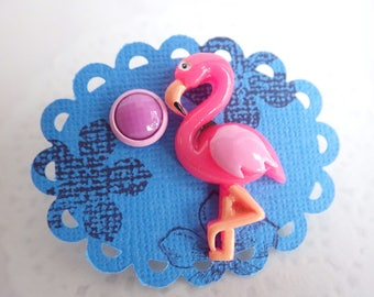 Flamingo pink - ear plug pink unequal pair - great color accent