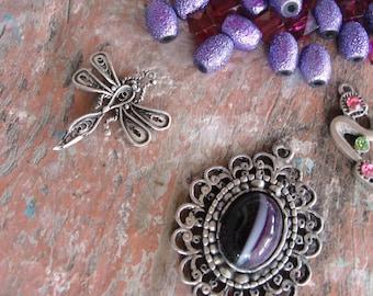 Potpourri Bead lot, Purple destash lot, vintage and new beads, Girly, Dragonfly, earrings, Pendants, silver, flower