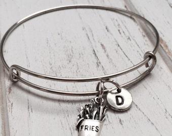French fry charm bracelet, bangle bracelet, food bracelet, personalized bracelet, initial bracelet, fries, food bangle, monogram