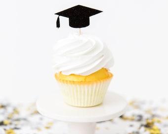 Graduation Cupcake Toppers - Set of 12 - 2018 Grad Party, Graduation Party Decor, Custom Graduation Decor, High School Grad Party