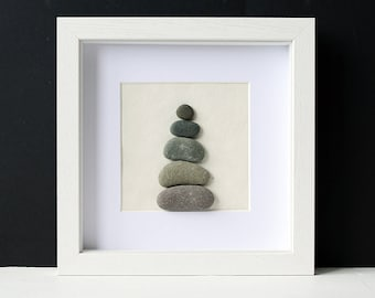 Pebble Cairn - Framed Pebble Art - Stacked Stones - Stone Art - Zen Pebble Art - White Wall Art - Stone Wall Art