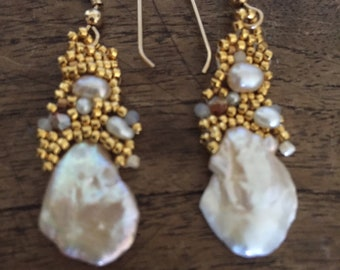 Free-form Peyote Stitched Pearl and seed bead earrings