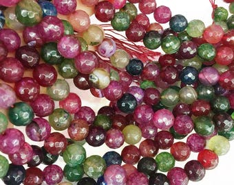 10mm Faceted Multicolor Agate Beads, Gemstone Beads, Wholesale Beads